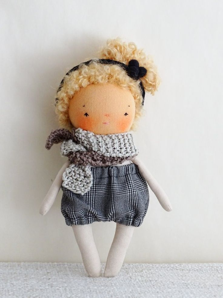 Image of Little blonde handmade cloth doll with hairband 7 inches tall