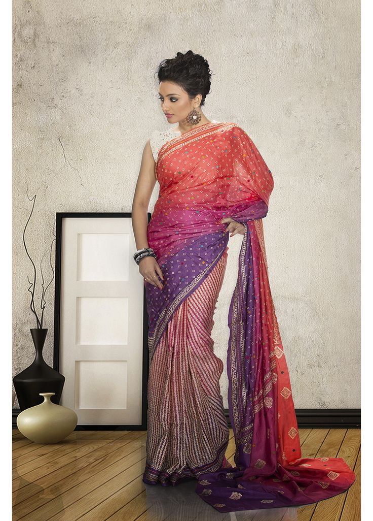 Pink with purple tassar saree-CODE-F3045