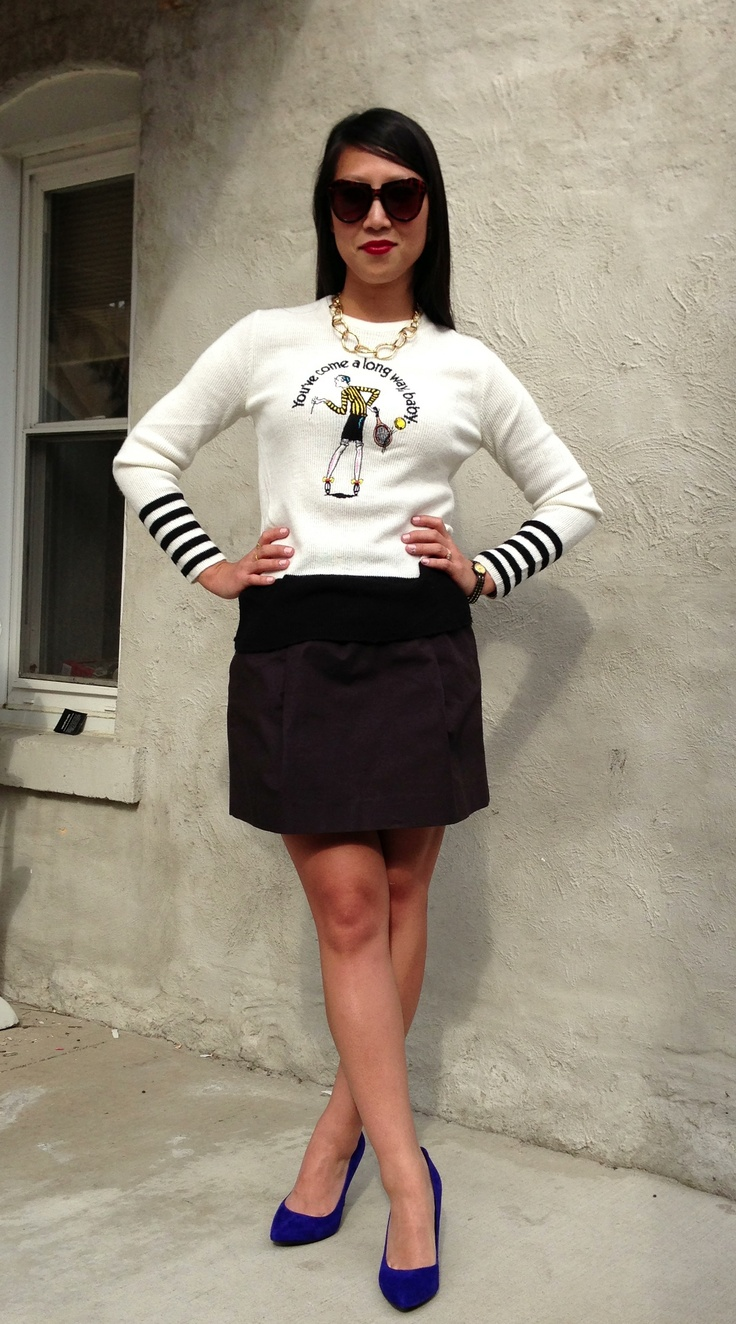 vintage virginia slims sweater / j crew black skater skirt / etienne aligner chunky gold chain  - want it? email us at thehuntshopscoop@gmail.com