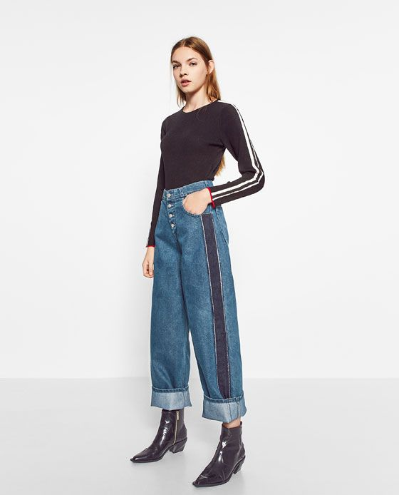 Image 1 of MOM FIT JEANS WITH SIDE STRIPES from Zara