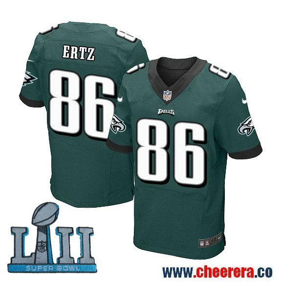 Nike Men's NFL Philadelphia Eagles 86 Zach Ertz Green 2018 Super Bowl LII  Elite Jersey