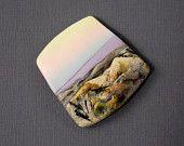 Glina Polimerowa handmade wisiorek Paciorek-ogniskowej Pozostawienie w Canyon Grand Canyon-Zmierzch-Tex Temat-Pastel Colors- dostawy biżuterii-PA 8465