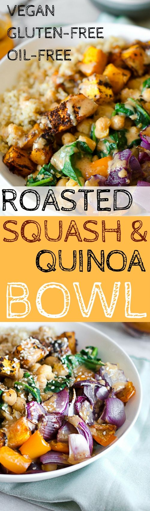 VEGAN BUDDHA BOWL! Chilli roasted squash, quinoa & almond citrus sauce. Plant based recipes, vegan gluten free recipes.