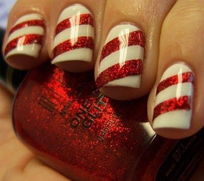 Candy cane nails!  I'm getting really excited for Christmas even though it's 3 months away!