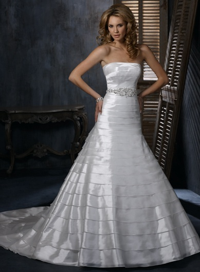 A-line Strapless Chapel Train Charming Organza over satinwedding dress,designer wedding gown,designer wedding gown,designer wedding gown