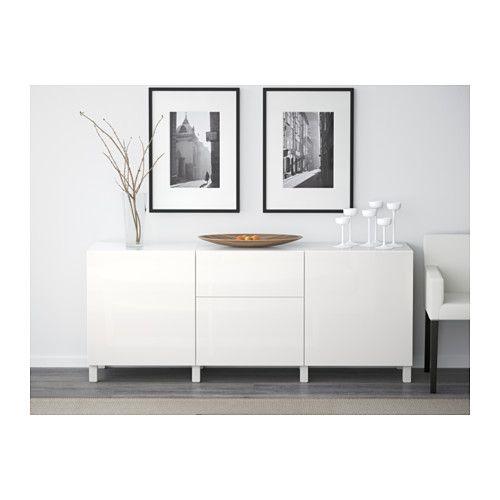 BESTÅ Förvaring med lådor, vit, Selsviken högglans/vit vit/Selsviken högglans/vit 180x40x74 cm lådskena, mjukstängande