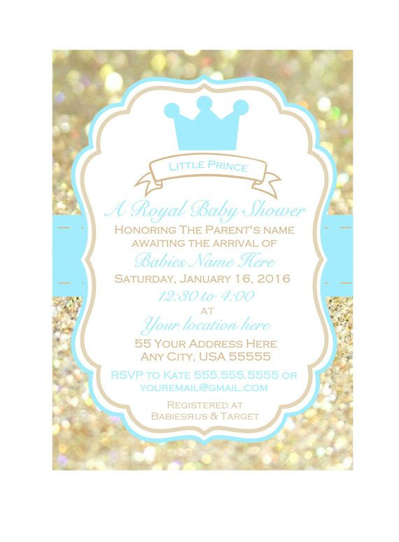 Printable baby shower Invitation Little Prince by WildSugarberries