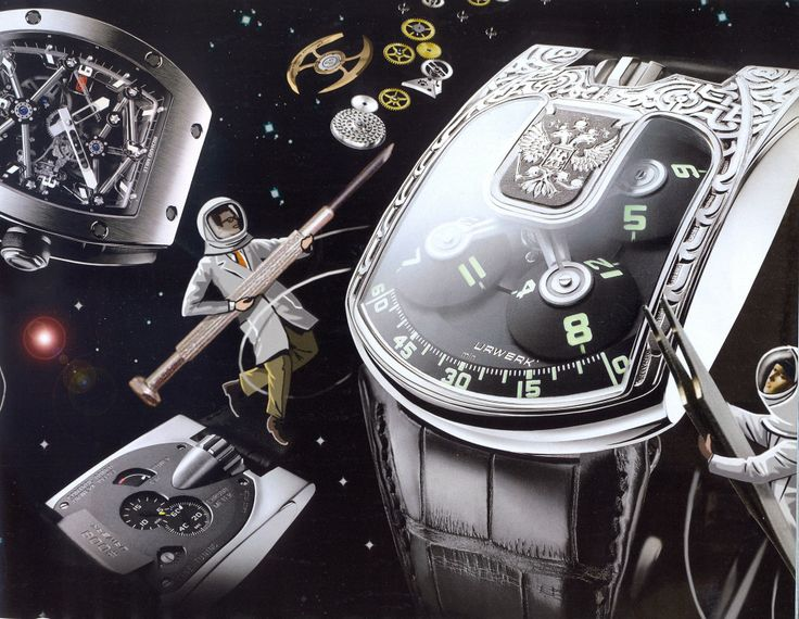 """Urwerk & Richard Mille - Illustration by Bill Butcher, Financial Times The Bonus Issue """"How to spend it"""" Friday February 23 2007"""