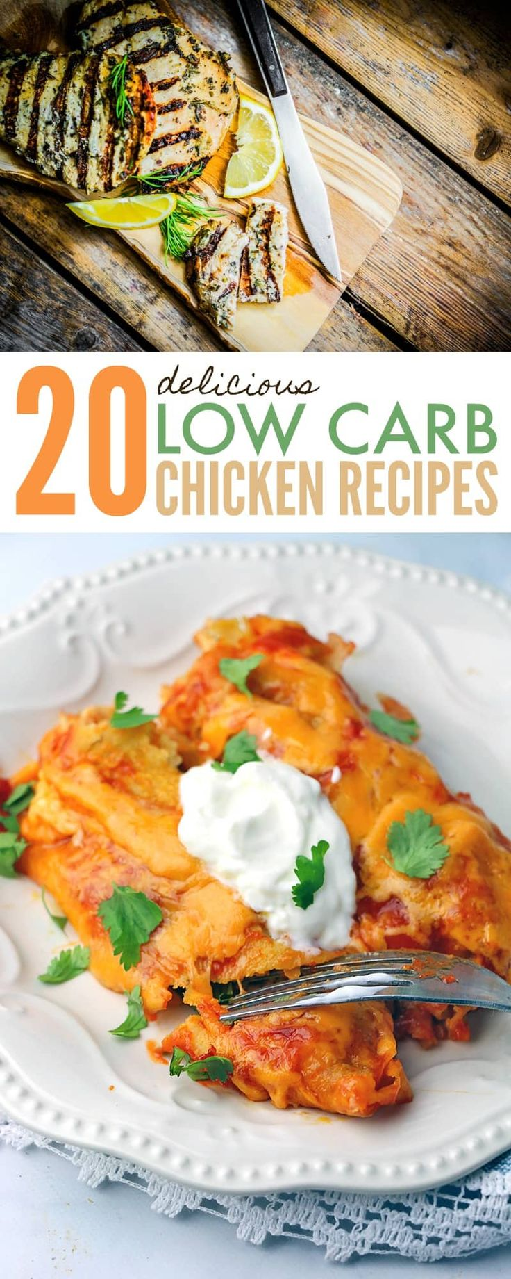 Low carb chicken recipes - variety of 20 delicious recipes for your low carb, ketogenic or paleo diet plan. May work for 21 Day Fix & Whole 30 too! https://www.730sagestreet.com/20-delicious-low-carb-chicken-recipes/