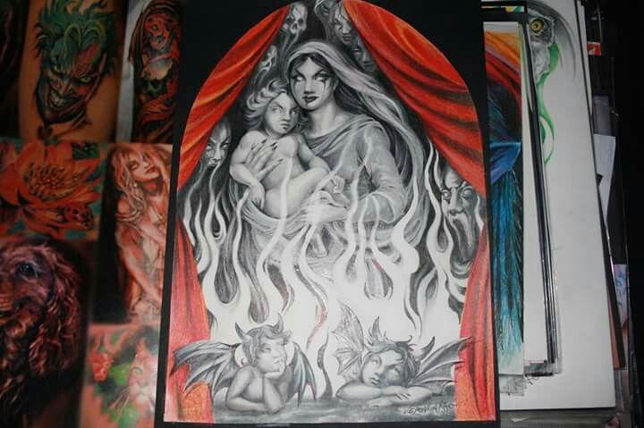 Madonna e bambino Raffaello versione Dark