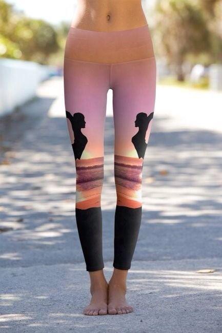Yoga Pants Printed Performance Leggings - Beach Yoga Print #yoga #fitness #health #gym #crossfit ...