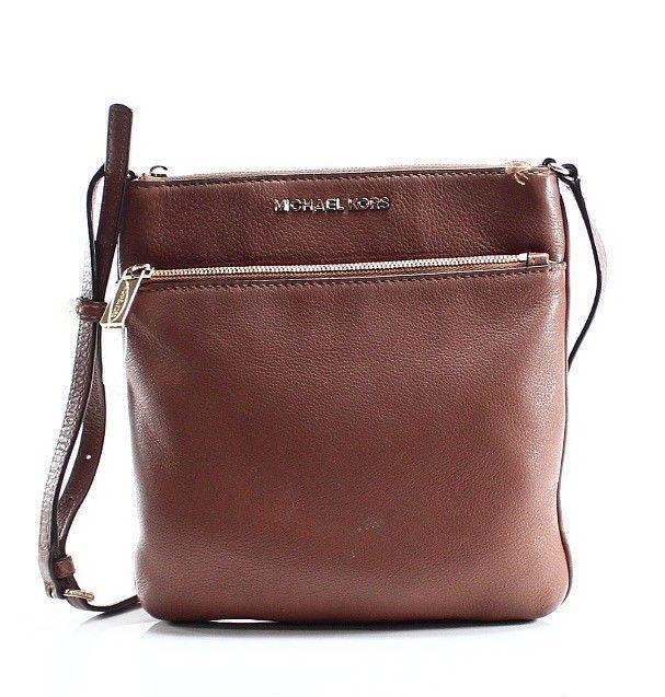 Michael Kors Brown Acorn Zip Top Rilaey Small Flat Crossbody Bag Purse $148- #20 #MichaelKors #Crossbody