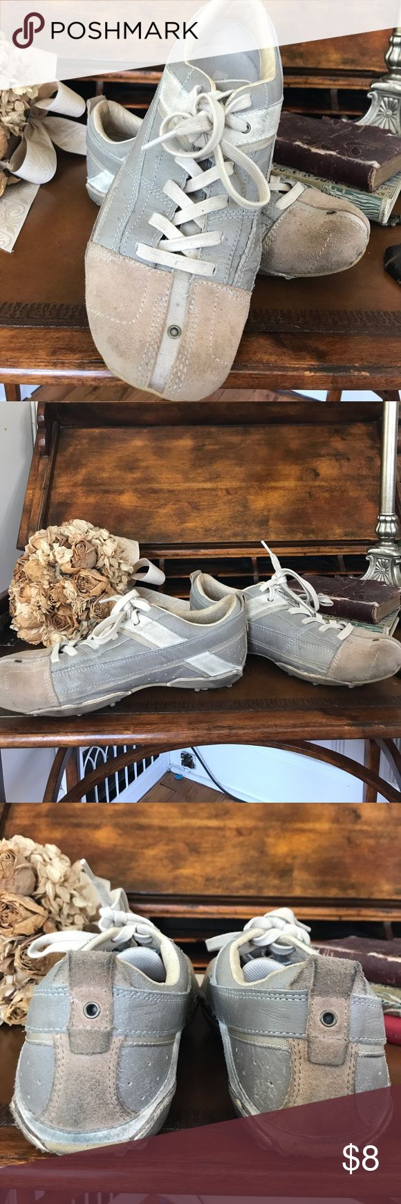 Diesel shoes, size 8.5 Super comfy pair of Diesel shoes, size 8.5.  They are worn in but still have s lot of life left in them! Color is a blend of cream, gray and tan Shoes Sneakers
