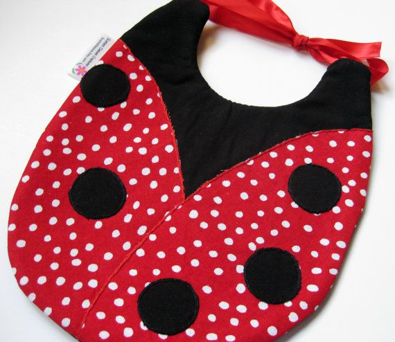 Ladybug baby's bib polkadotted by ABabyNotion on Etsy, $13.50  A definite must for the Beedle children!