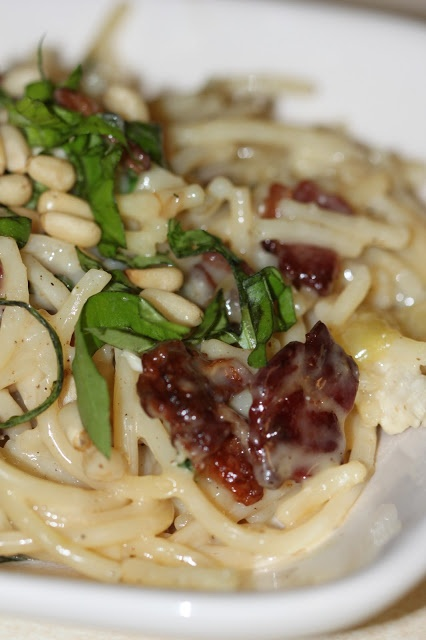 Honey: Brie, Bacon and Basil Pasta - onions are sauteed in the bacon ...