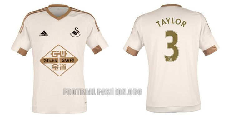 Swansea City 2015 2016 adidas White and Copper Home Football Kit, Soccer Jersey, Shirt