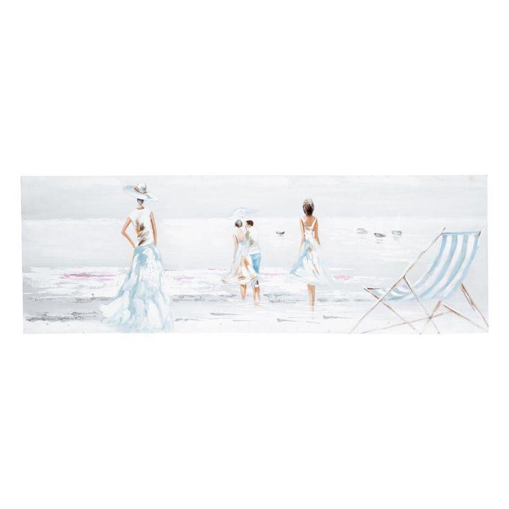 Wall deco - sea side scene lienzo Paseo estival describe una escena a pie de playa con tonos suaves