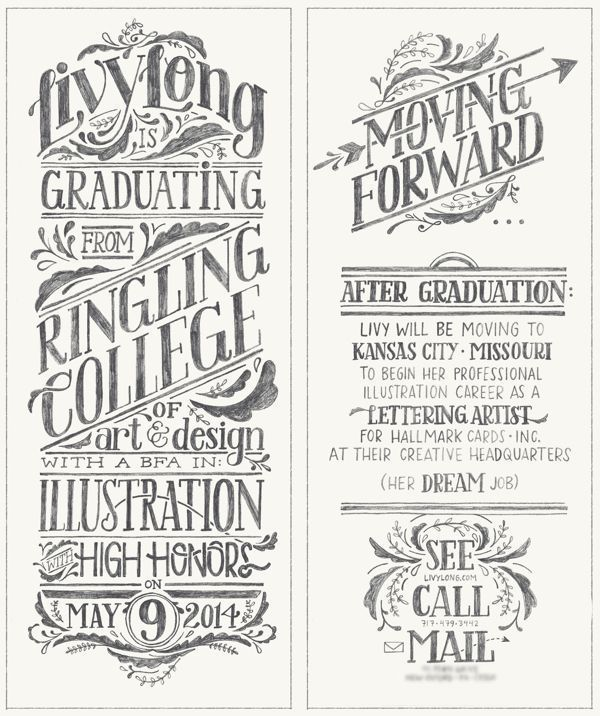 Handwritten Type: Graduation Announcement by Livy Long, Ringling College of Art and Design Class of 2014