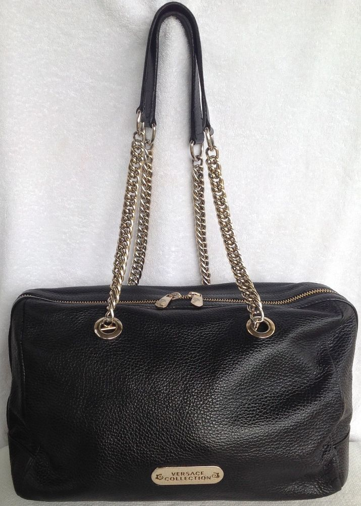 VERSACE Collection Black Pebbled Leather Shoulder Bag Satchel W Gold Chain  ITALY bbcaa7effed75