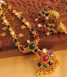 Buy Lovely antique multicolour  designer necklace set necklace-set online