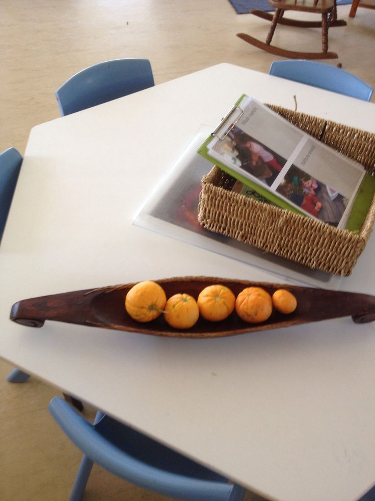 Snack table with oranges we grow on the kinder tree