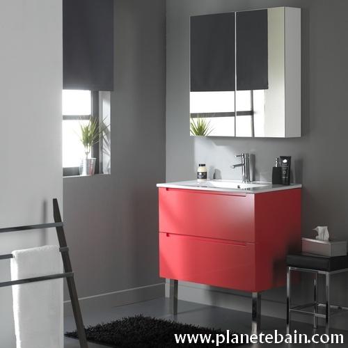Superbe meuble simple vasque rouge vermillon  #meublerouge