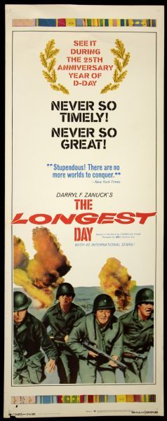 1969 Pop Culture | 1969 The Longest Day Re-Release Insert (14 x 36) Movie Poster…