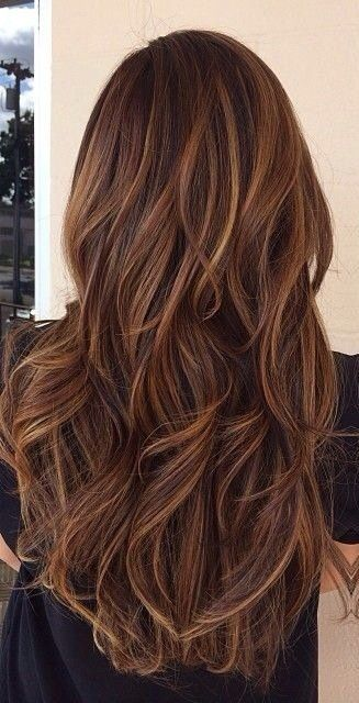 Long Brunette With Caramel Hi Lights