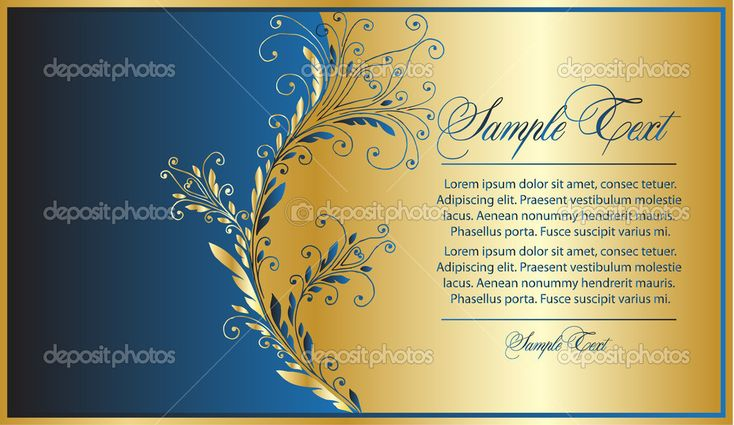 Элегантность сине Золотой фон — стоковая иллюстрация #4269332