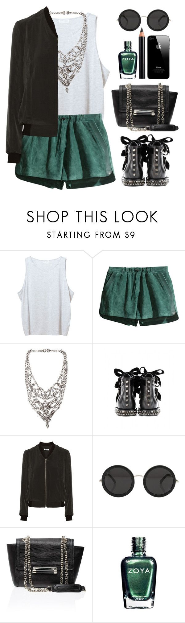 """Studs"" by endimanche ❤ liked on Polyvore featuring Zara, H&M, Tom Binns, Yves Saint Laurent, Helmut Lang, The Row, Diane Von Furstenberg, Zoya and Clarins"