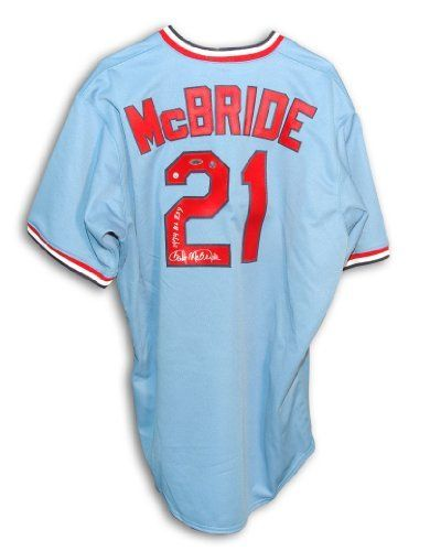 "Bake McBride Autographed St. Louis Cardinals Throwback Blue Majestic Jersey Inscribed ""1974 NL ROY"" . $294.50. Bake McBride Autographed St. Louis Cardinals Throwback Blue Majestic Jersey Inscribed ""1974 NL ROY"". This item comes with a certificate of authenticity from Athletic Promotional Events."