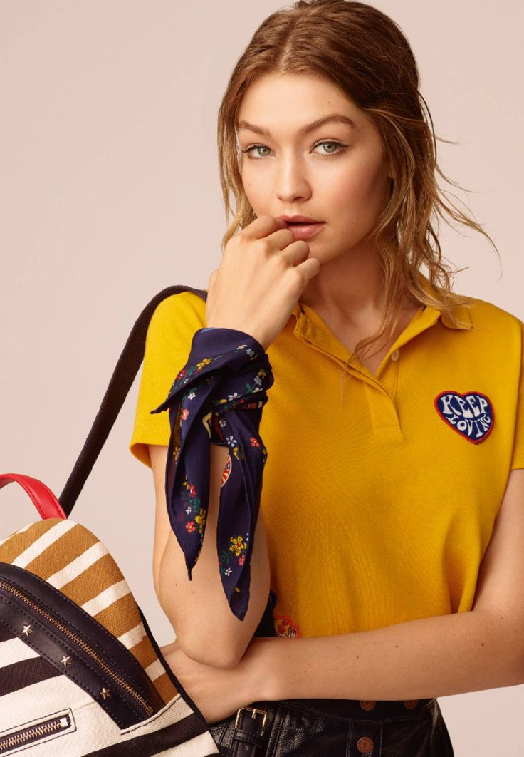"Tommy Hilfiger. GIGI HADID - Polo shirt - yellow. #PoloShirt Fit:large. Outer fabric material:96% cotton, 4% spandex. Our model's height:Our model is 69.5 "" tall and is wearing size S. Care instructions:machine wash at 30°C,Machine wash on gentle cycle. Leng..."