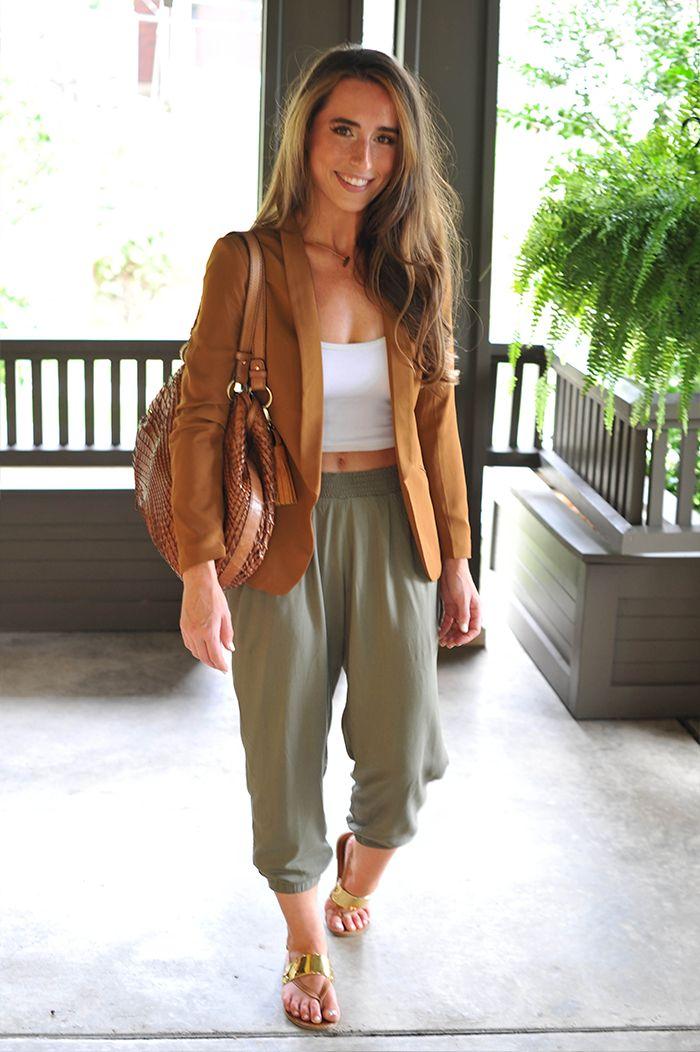 American Apparel Crop Top, H&M Blazer, Parachute Pants, Cole Haan Purse Style Fashion