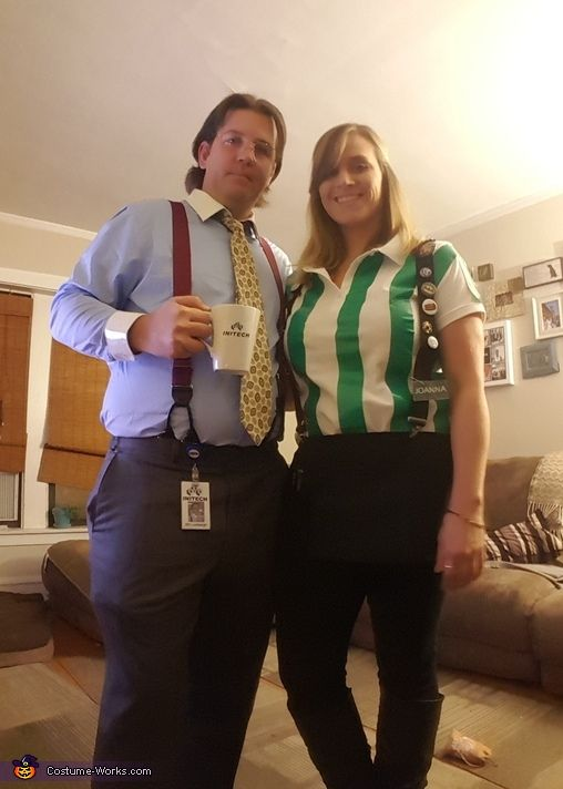 John: My girlfriend and I decided to dress up as Bill Lumberg and Joanna from the movie Office Space. Simple costumes, and the collars on my shirt and her green stripes...