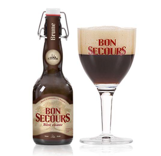Bon Secours Bruin / De Bon Secours Brune (8%) werd verkozen tot beste bruin bier ter wereld. Neus met delicate aroma's van mokka en citrusvruchten. In de mond wijkt de fruitachtige toets al heel snel voor de warme aroma's van geroosterd mout.