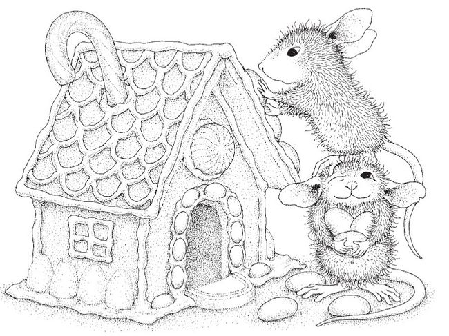 Stampendous - Cling Mounted Rubber Stamp - House Mouse Gingerbread House