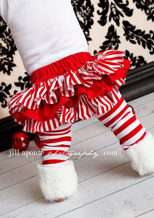 ruffle christmas candy cane skirt