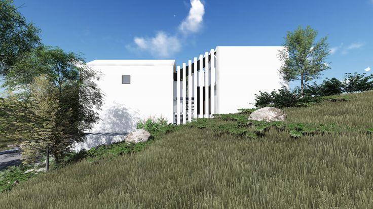 Detached villas on a hill. Modern, minimalist, clean