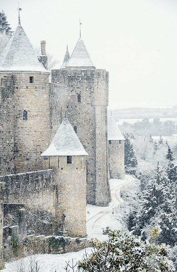 Castle in Carcassonne, under a rare snow