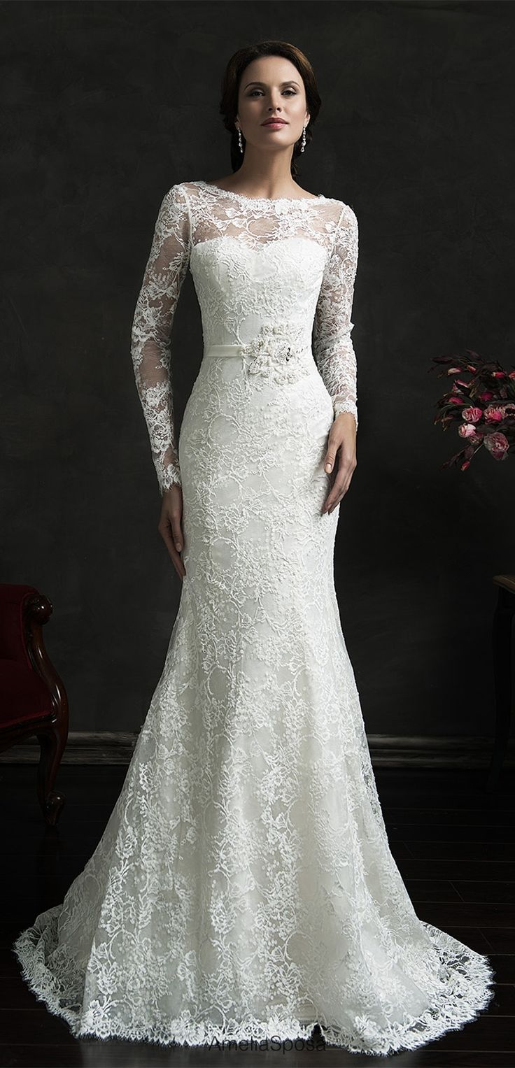 Long Sleeve Lace Full Mermaid Wedding Dress From Www