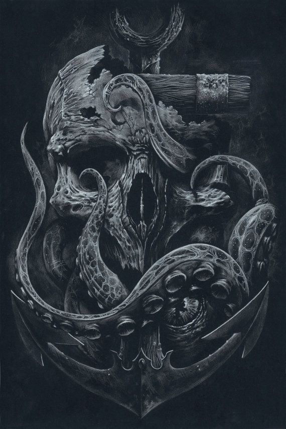 THE LOCKER Custom Print Octopus Skull Anchor Black von grabinkART