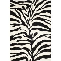 Safavieh Hand-woven Ultimate Ivory/ Black Shag Rug (3'3 x 5'3)