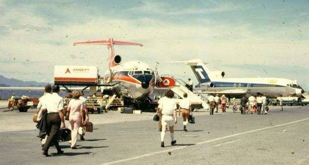 Ansett & TAA B727s busy apron scene, Perth Airport