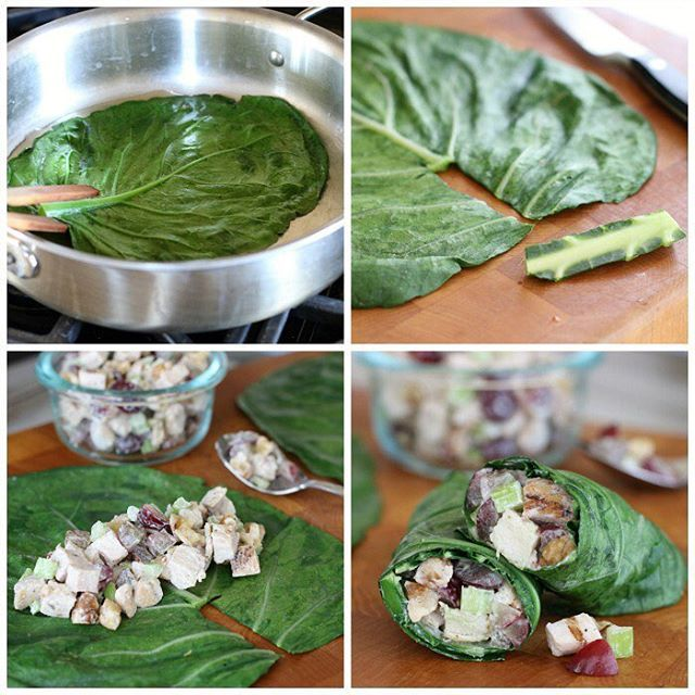 Chicken Salad On The Go! ... Kelly @thenourishinghome here… Collard green leaves make the perfect edible to-go containers for chicken, tuna or salmon salad.  Of course, you can always use raw collard greens–they're amazing! Yet, I find it's a bit easier to work with collard green leaves that have been quickly steamed or blanched, because they roll, and stay rolled, more easily.  How to Wrap with 🌿Collard Green Leaves • Quickly steam or blanch the leaves (no more than 20-30 seconds) • Place…