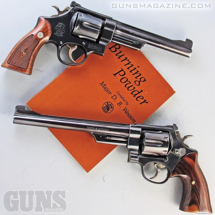 "Hopefully you'll be burning some this weekend?  The book ""Burning Powder"" compiled by D.B. Wesson in 1932 introduced the S&W .38/44 Outdoorsman (top) which was used by Wesson three years later as the base sixgun for the .357 Magnum (bottom).  More in the May 2018 issue of GUNS Magazine.  ##burningpowder #righttobeararms #2a #merica #pewpewlife #igmilitia #gunstagram"
