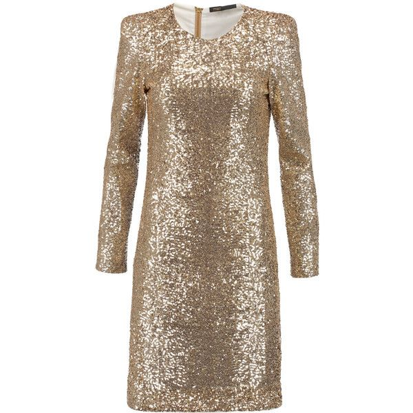 Maje - Sequined Tulle Mini Dress (295 CAD) ❤ liked on Polyvore featuring dresses, gold, tulle cocktail dress, sequin embellished dress, brown sequin dress, short dresses and sequin mini dress