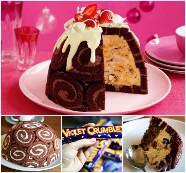 Chocolate Honeycomb Ice Cream Pudding!