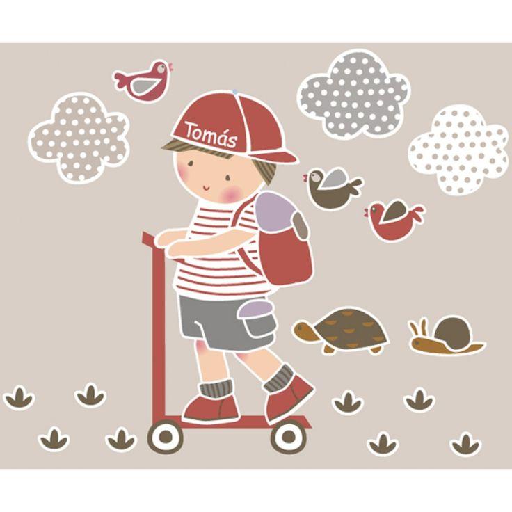 Vinilo infantil: Niño en patinete