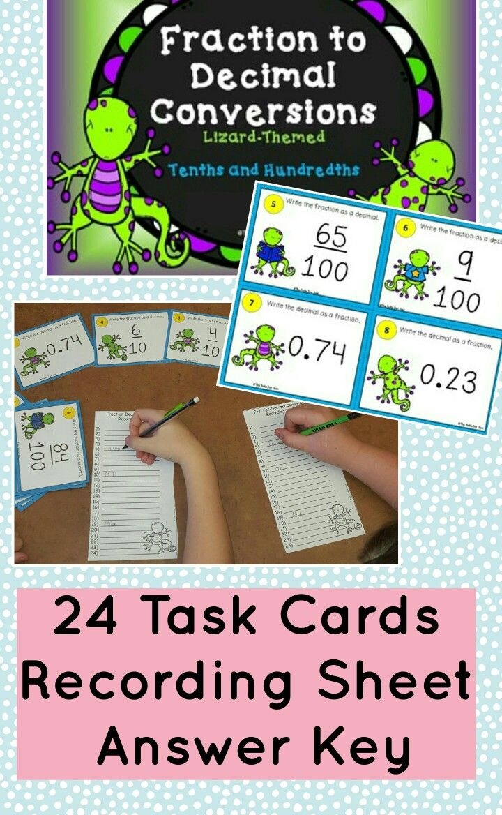 Fraction to Decimal Conversions (and vice versa) Task Cards