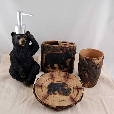 black bear bathroom accessories cabins and cabin ideas pinterest rh pinterest com Cabin Ideas Bathroom Decorating Rustic Country Bathroom Decor